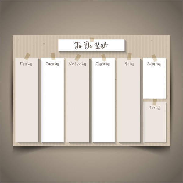 Weekly Planner with Retro Cardboard Design Free