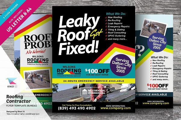Roofing Contractor Flyers Bundle