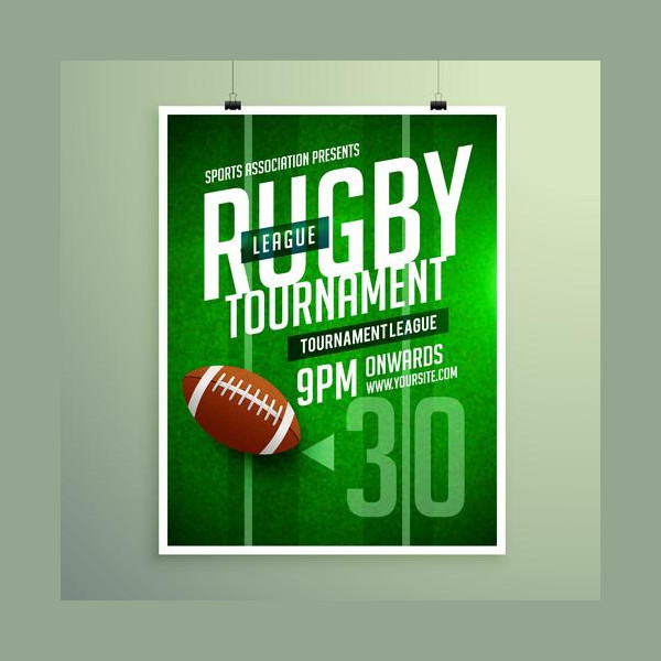 Rugby League Game Flyer Design Invitation Template Free