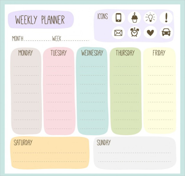 Colorful Weekly Planner Template Free