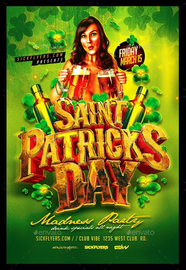 St Patricks Day Madness Party Flyer