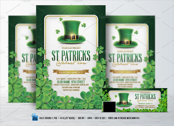 St. Patricks Day Flyer Template & FB Cover