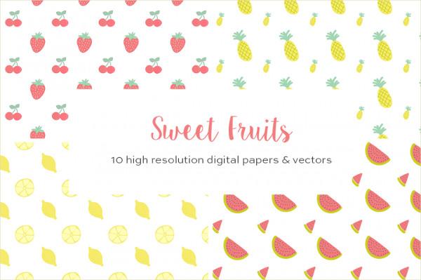 10 Summer Fruits Vector Patterns