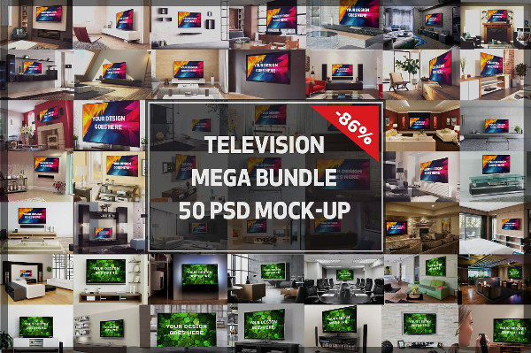 TV Display Mock-Ups Mega Bundle