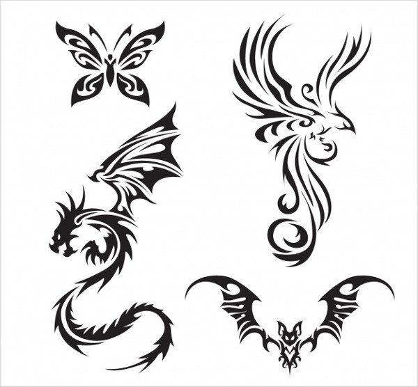 Tattoo Design Pack with Wings Free Vector