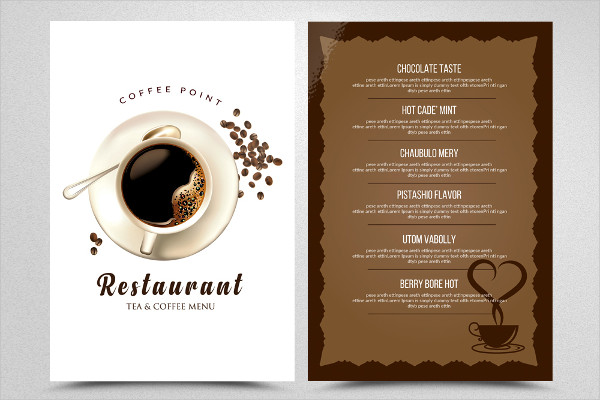 Tea & Coffee Menu Restaurant Flyer Design