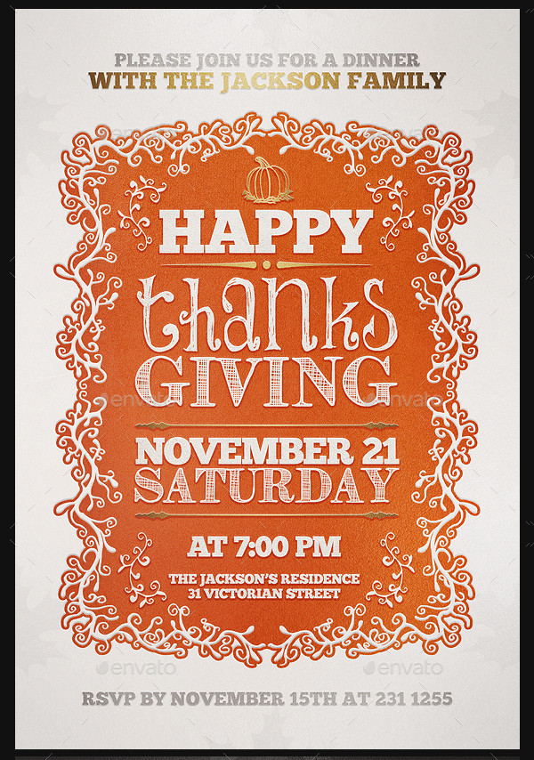 Thanksgiving Invitation Flyer Template