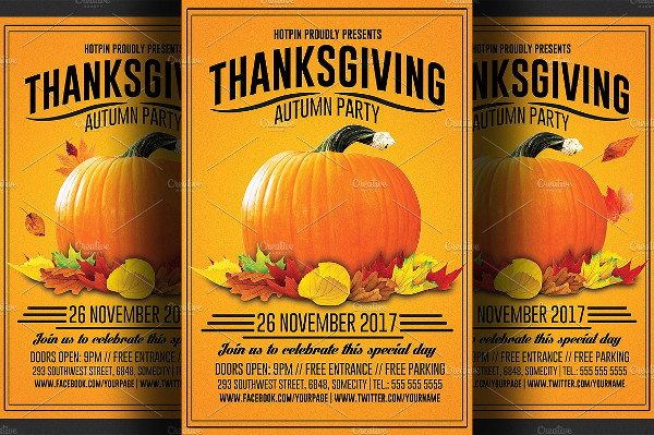 Thanksgiving Restaurant Flyer Template
