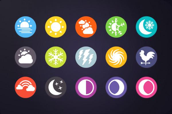 30 Weather & Forecast Circle Icons Set