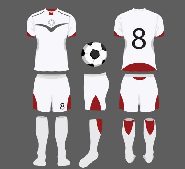 White & Red Football Jersey Mockup Free