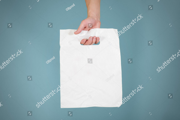 White Blank Plastic Bag Mock-Up Isolated