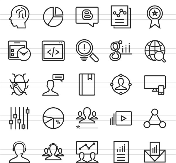 150 Mobile Marketing Line Icons