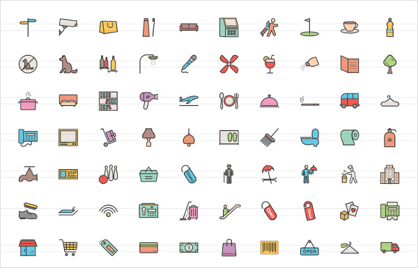 170 Hotel & Relaxation Filled Line Icons