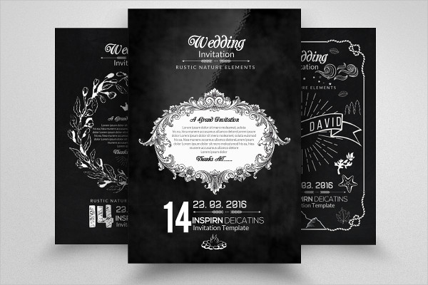 3 Chalkboard Wedding Invitation Cards Template