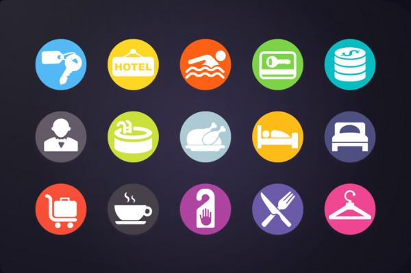 30 Flat Design Hotel Icons