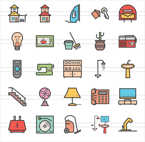 50 Home Linear Multicolor Icons