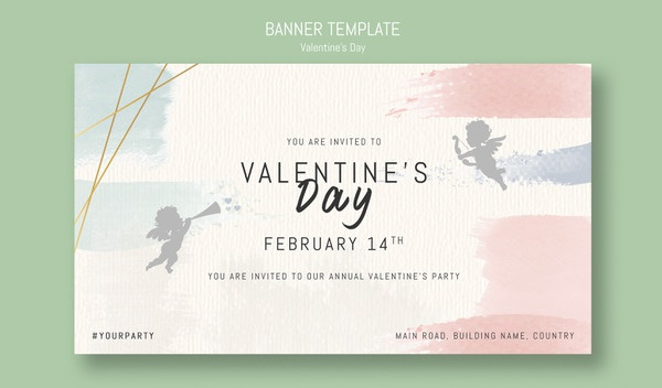 Annual Valentine's Day Party Invitation Mock-up Free Download