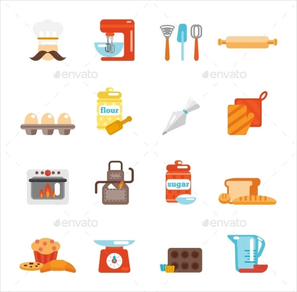 Bakery Icon Flat Set with Bread Cakes
