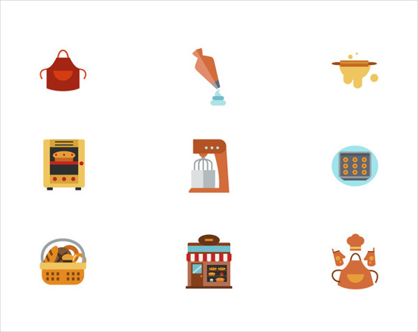 Flat Design Bakery Icon Set Free
