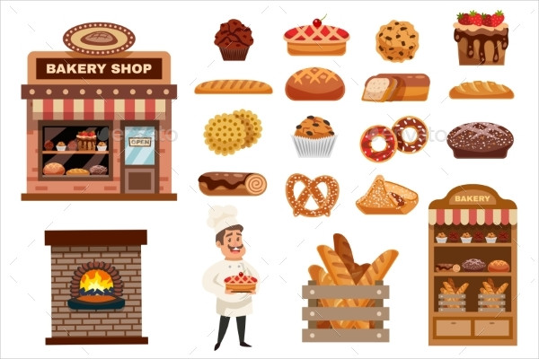Editable Bakery Shop Icons Set