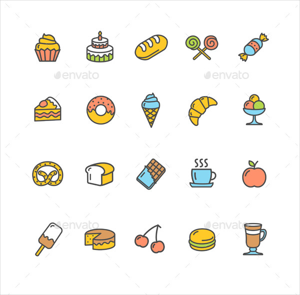 Bakery Icon Set Color On White
