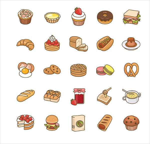 Bakery Color Vector Icons