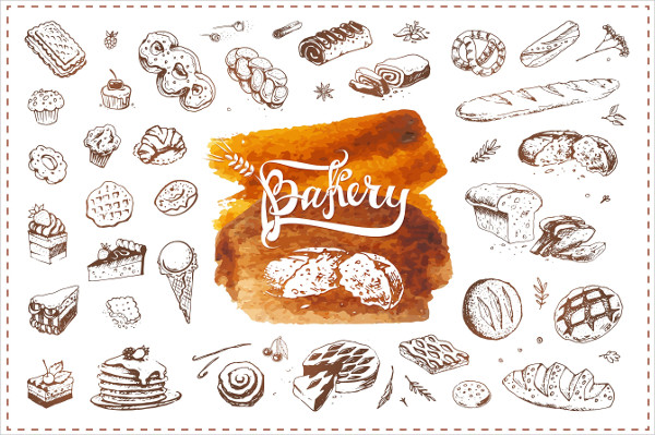 Bakery Doodle Icons and Calligraphy