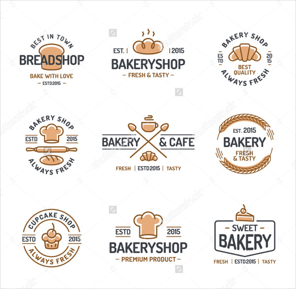 Bakery Logo Set Consisting of Icons