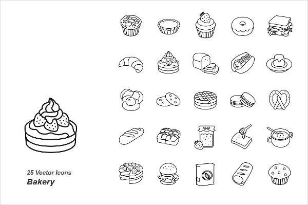 Bakery Outlines Vector Icons