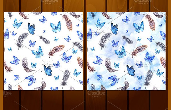 Blue Butterflies and Feathers Pattern