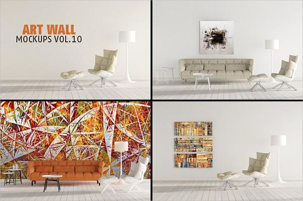 Branding Wall Art Mockups PSD