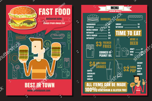 Burger Menu Brochure or Poster Template
