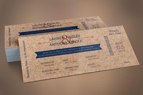 Cardboard Boarding Pass Invitation Template PSD