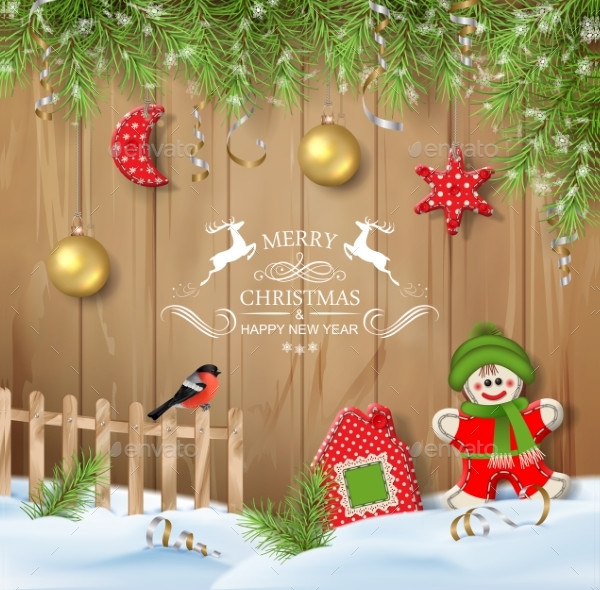 Christmas Background with Ornaments Design