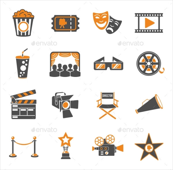 Cinema and Movie Two Color Icons Set