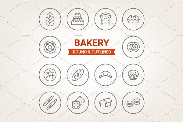 Bakery Round & Outlined Icons