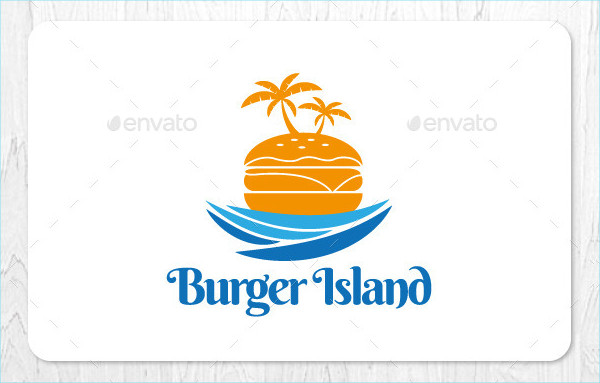 Colorful Burger Island Logo Design