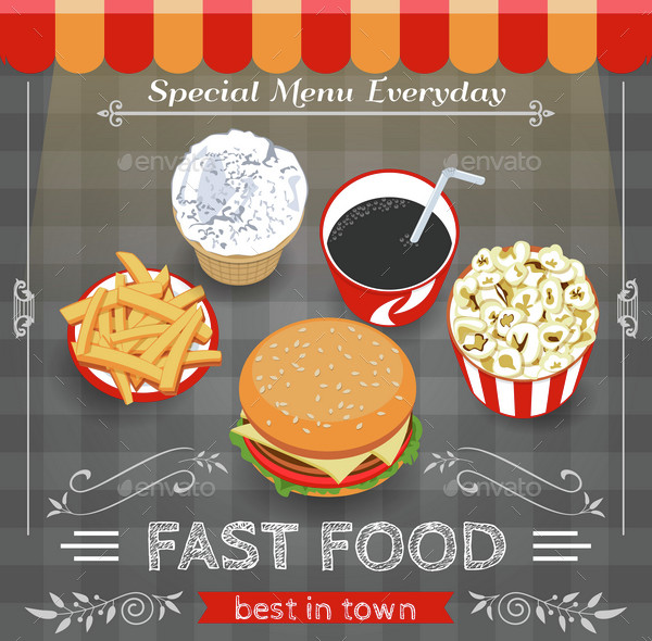 Colorful Fast Food Menu Poster