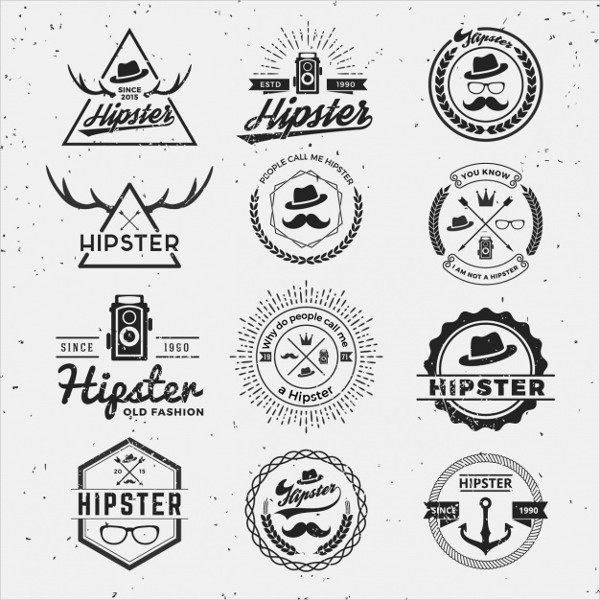 Free Vector Hipster Logos Collection
