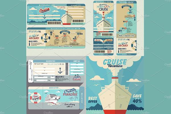Cruise Ship Boarding Pass Set
