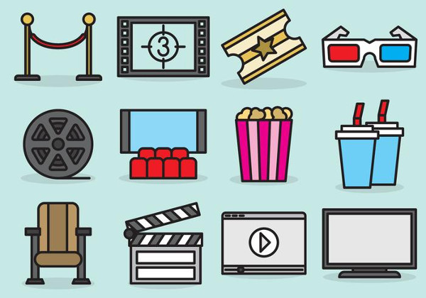 Cute Movie Theater Icons
