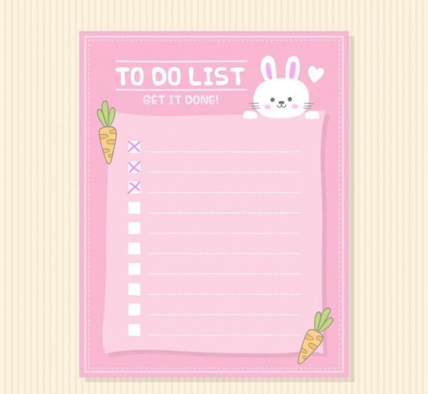 Decorative Checklist with Cute Bunny Free