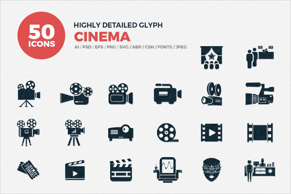 Decorative Cinema Icons Set
