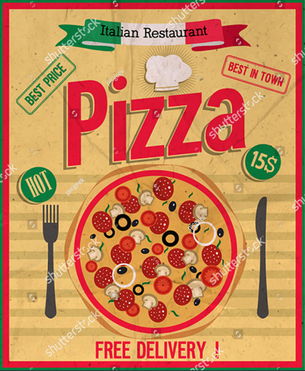 Delicious Retro Style Poster with Sliced Pizza