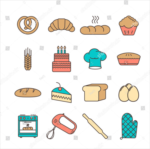 Bakery Icon Set Vector Illustration