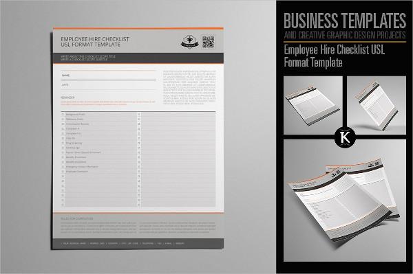 Editable Employee Hire Checklist USL Format Template