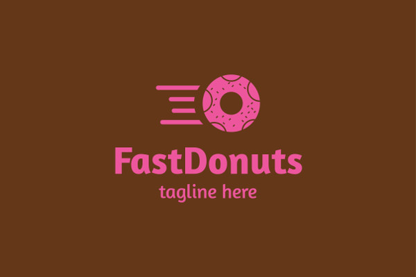 Fully Editable Fast Donuts Logo Template