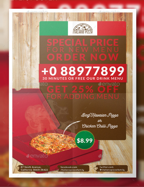 Flat Pizza Flyer or Poster Template