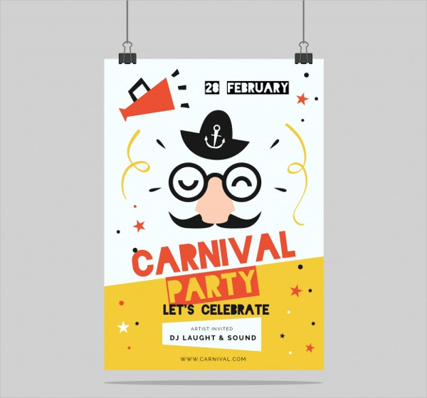 Flat Carnival Party Flyer Free Vector