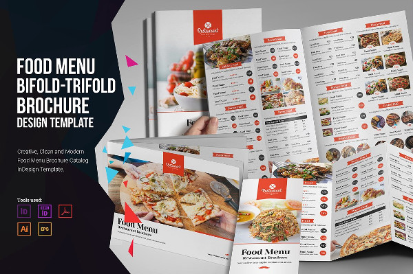 Food Menu Bifold & Trifold Brochures Design